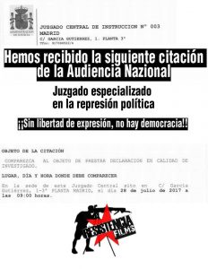 La Audiencia Nazional sigue reprimiendo.