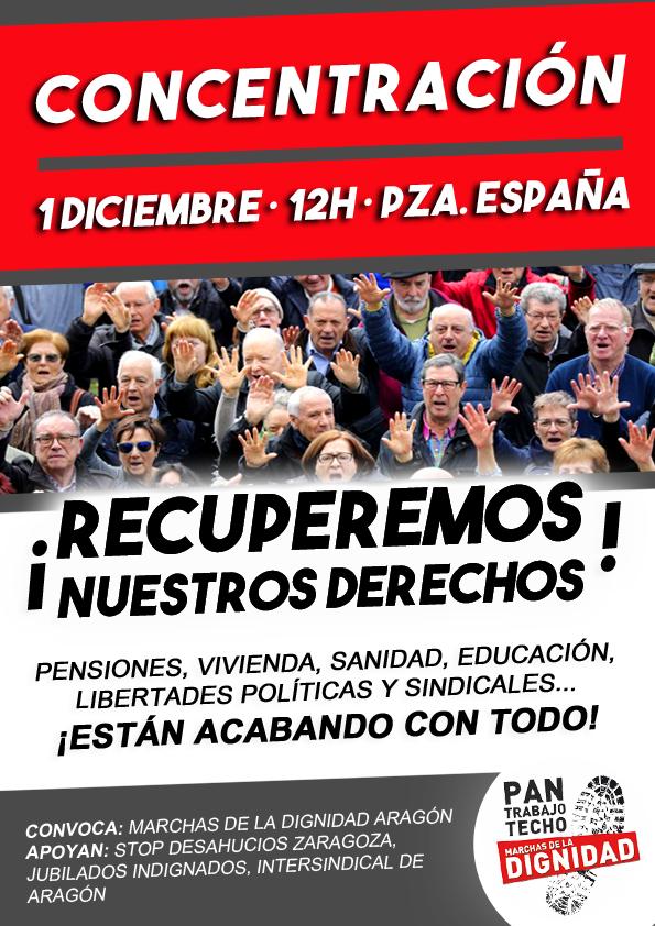 """Concentración 1 de Diciembre. """"Recuperemos nuestros derechos""""MMD Aragón"""