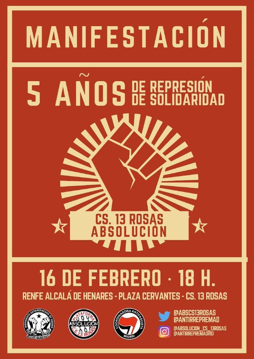 Solidaridad con la Plataforma Absolución CS. 13 Rosas