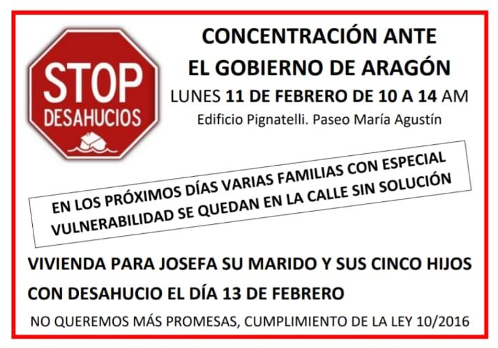 STOP DESAHUCIOS, nota de prensa y convocatoria de concentración.
