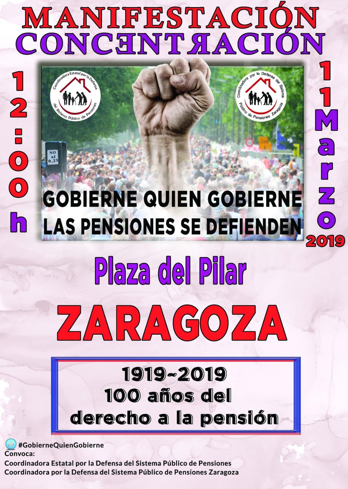 Movilización Estatal 11 de Marzo. Gobierne quien gobierne las pensiones se defienden