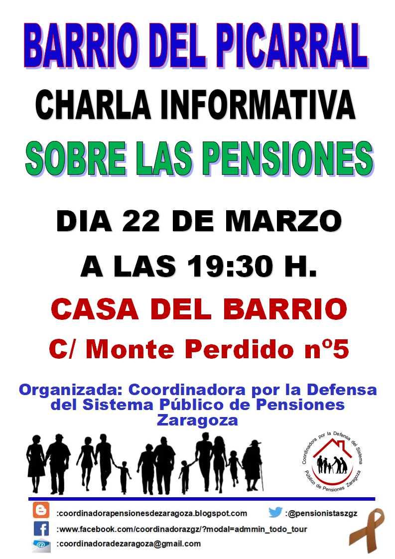Charla sobre las pensiones, en La Casa del Barrio Picarral, Zaragoza. Viernes 22 de Marzo