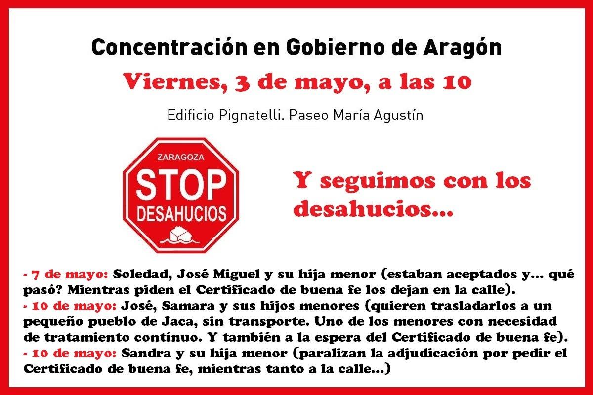 Este viernes 3 de Mayo se ha paralizado el desahucio en Zaragoza