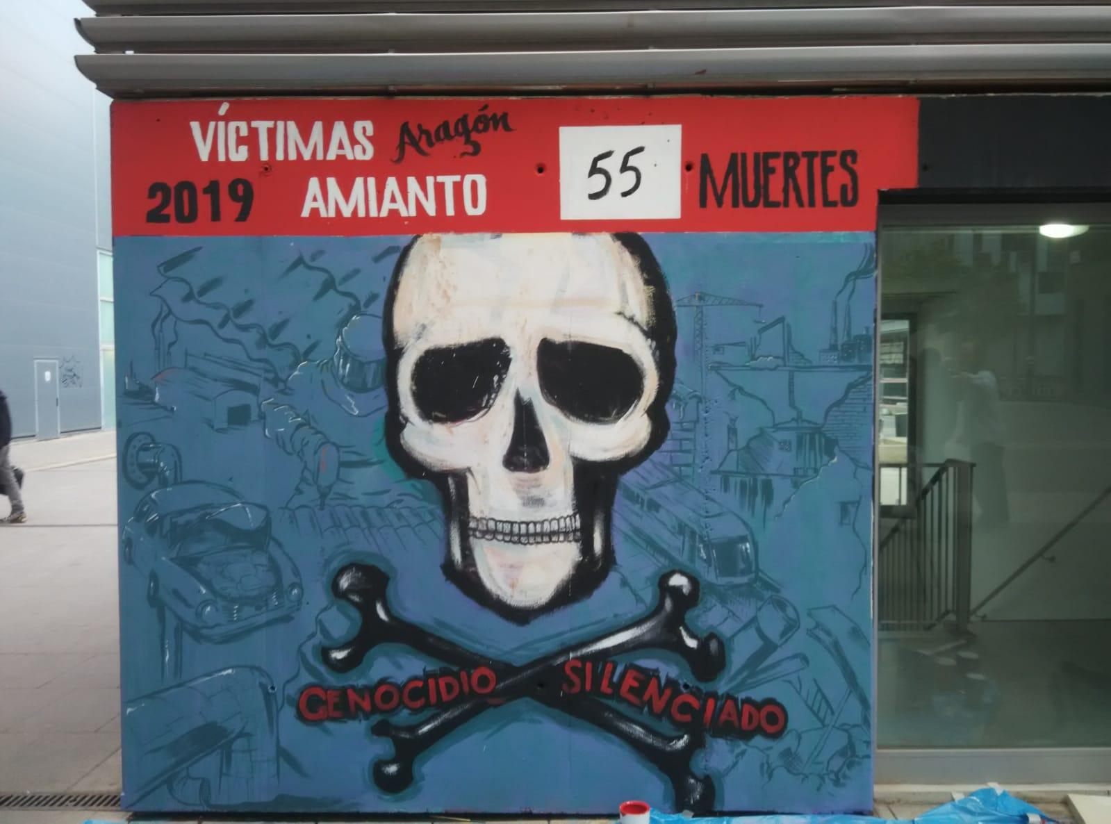 Zaragoza. LLamamiento y fotos. Pintada de mural, víctimas del amianto.