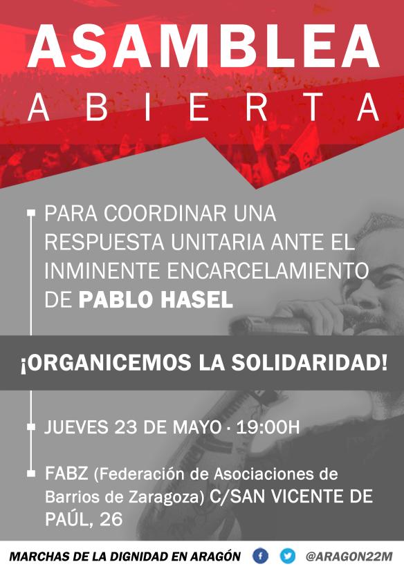 Asamblea abierta, solidaridad con Pablo Hasel. Jueves 23 de Mayo enFABZ