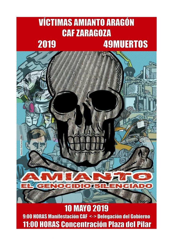 Zaragoza, Amianto. Paro en fábrica CAF, manifestación viernes 10 de Mayo.