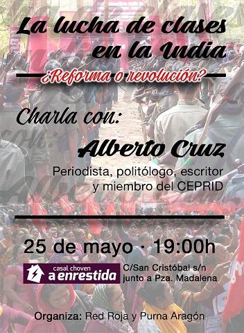 Zaragoza, charla. La lucha de clases en la India. Sábado 25 de Mayo