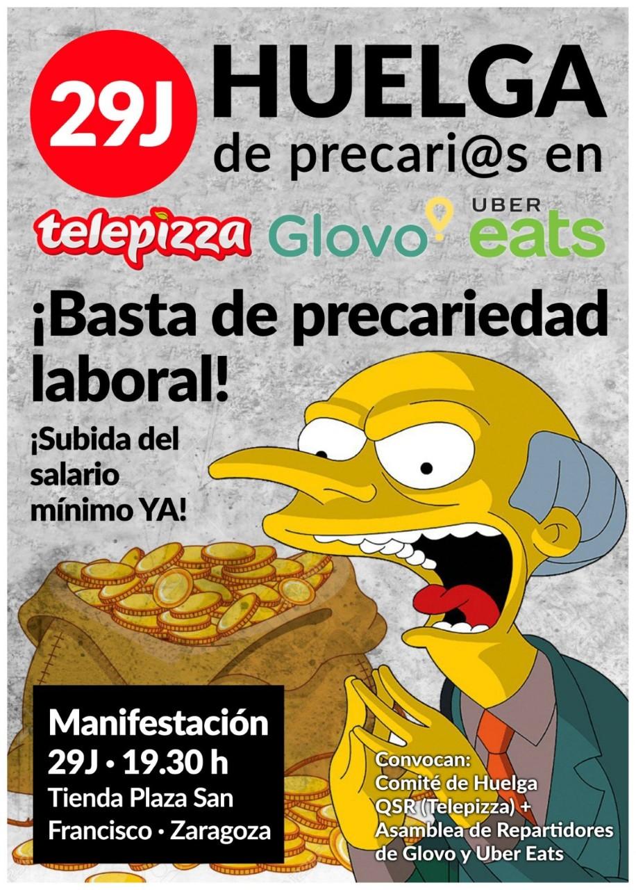 QSR Telepizza. ¡¡EL 29J VAMOS AHUELGA!! Manifestación 29J.