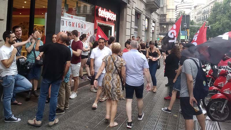 Importante huelga en Telepizza Barcelona con un 70% de seguimiento