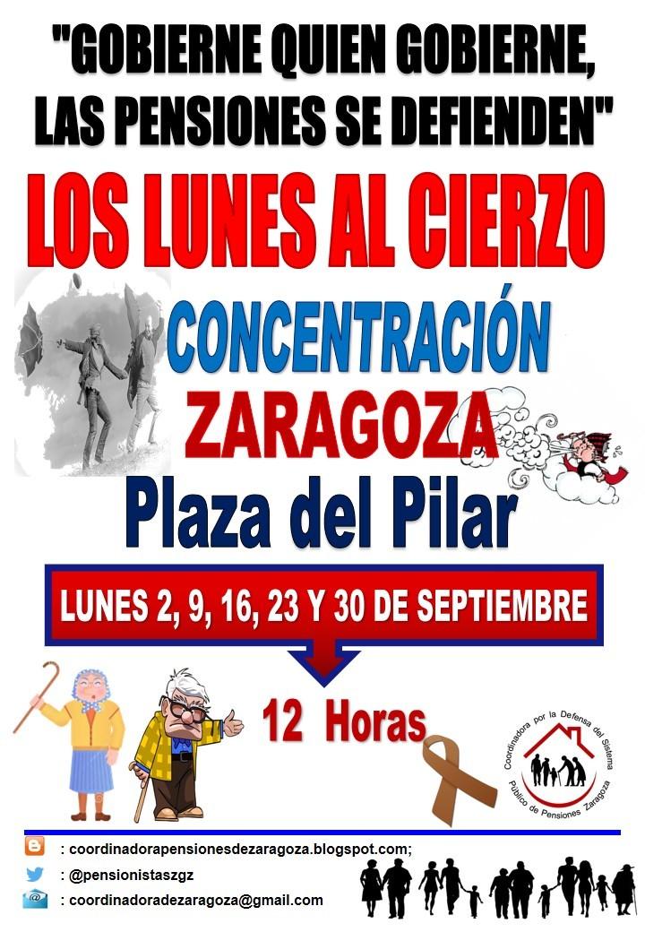 Zaragoza. Lunes al Cierzo. 16 de Septiembre. Llenemos la Plaza del Pilar