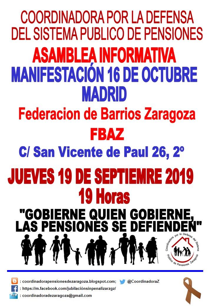 Asamblea informativa de la Coordinadora por la Defensa del Sistema Público de pensiones de Zaragoza. Jueves 19, 19:00 h en FABZ