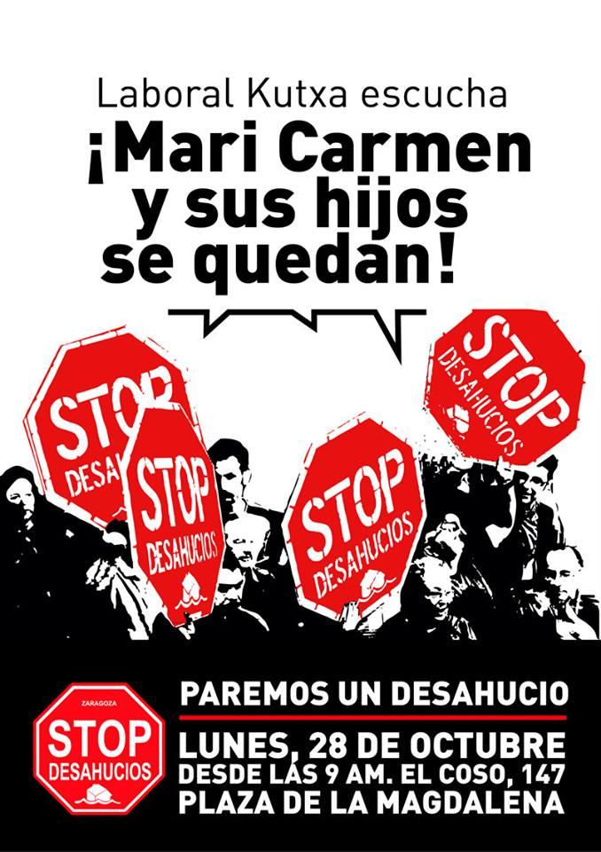Zaragoza. ¡¡Paremos un desahucio!! Lunes 28 de octubre, 09:00 h Plaza de la Magdalena. Coso 147