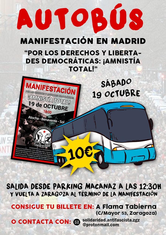 Madrid, 19 de octubre: Manifestación por los derechos y libertades democráticas ¡AMNISTÍA TOTAL! Autobús desde Zaragoza. 10 €