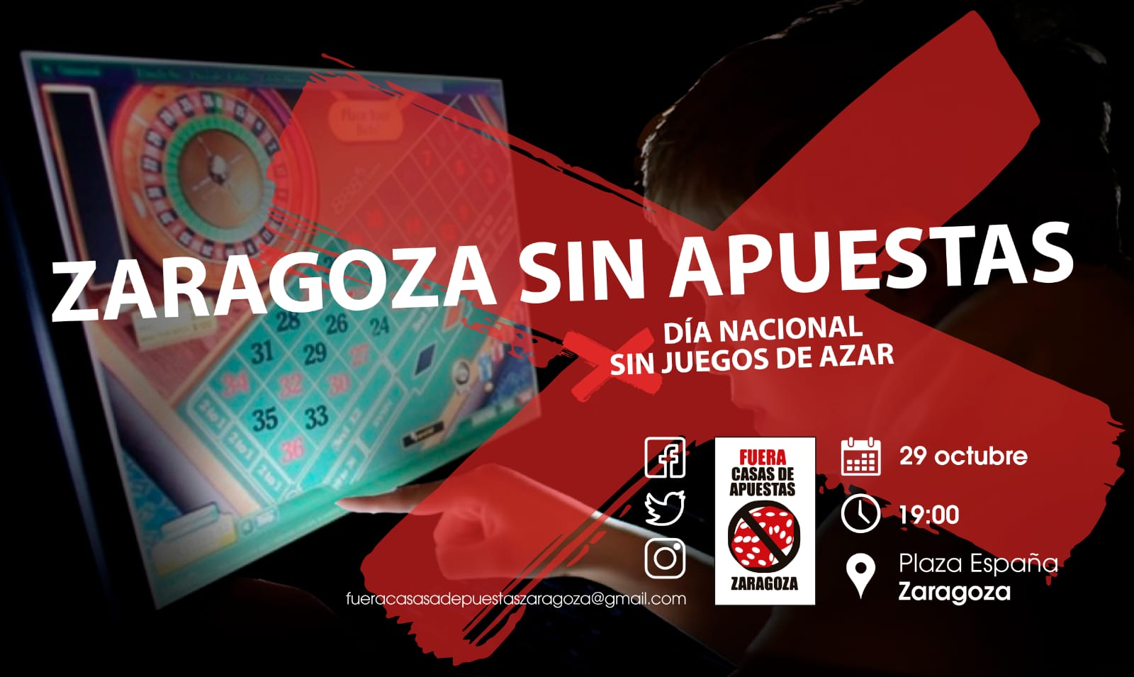 Zaragoza. Concentración contra las casas de apuestas. Martes 29/10, 19:00 h. Plaza de España