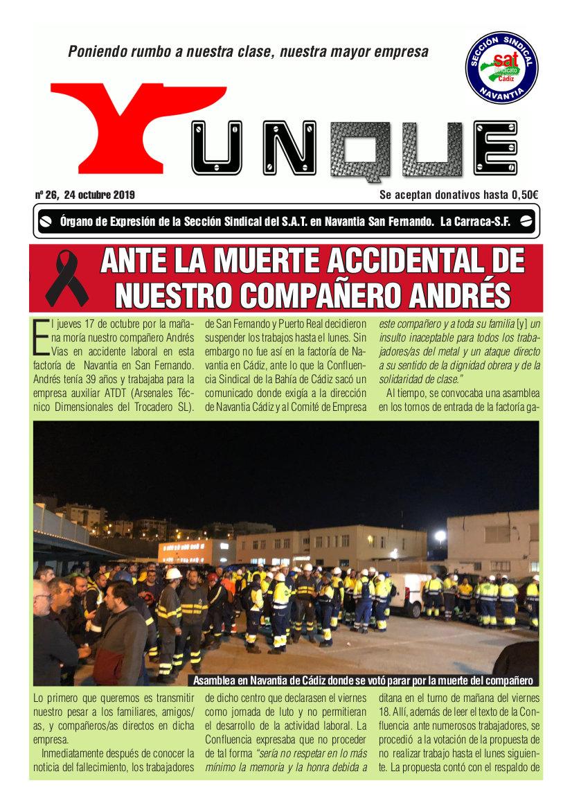 Yunque Nº26, octubre 2019. Sección Sindical SAT Navantia