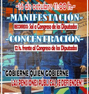 Videos. Marchas de pensionistas a Madrid. Manifestación en Madrid,16 de Octubre