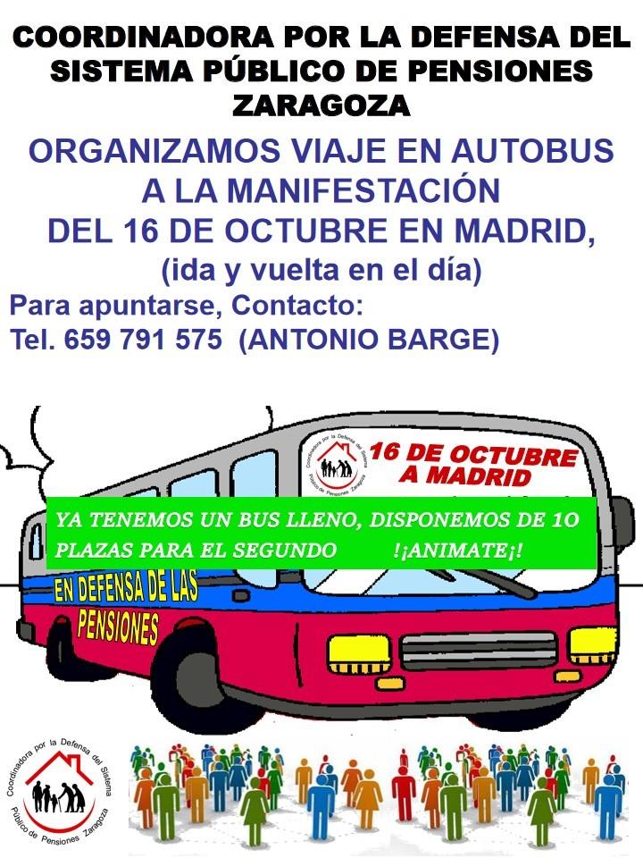 Autobus desde Zaragoza para la gran movilizacion del 16 de Octubre en Madrid en defensa de las pensiones