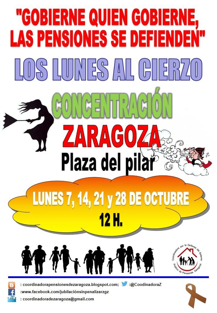 Lunes al Cierzo. 28 de Octubre. Acompañaran jubilados y pensionistas de Huesca. Gobierne quien gobierne las pensiones se defienden.