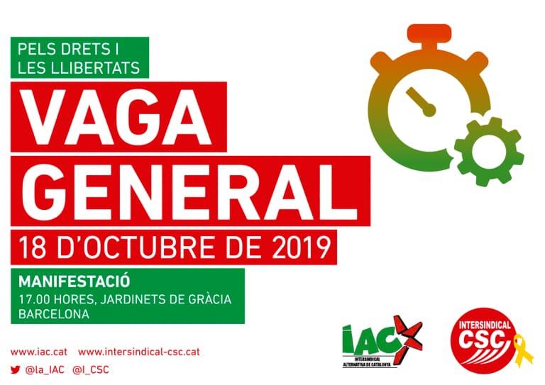 IAC y CSC convocan huelga general el 18 de octubre en Catalunya
