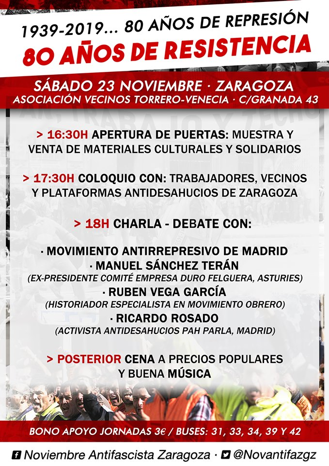 Zaragoza. Noviembre antifascista. 1939-2019. 80 años de represión, 80 años de Resistencia. Sábado 23N