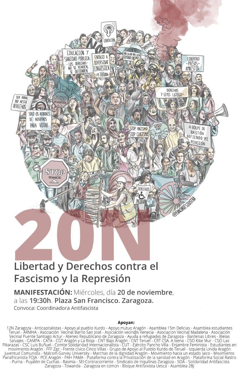 Zaragoza 20N. Manifestación contra el Fascismo y la Represión
