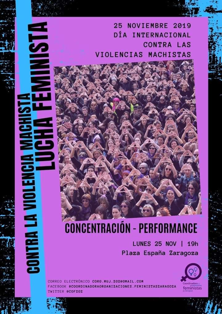 Zaragoza, 25N Día internacional contra la violencia machista, Movilizaciones.