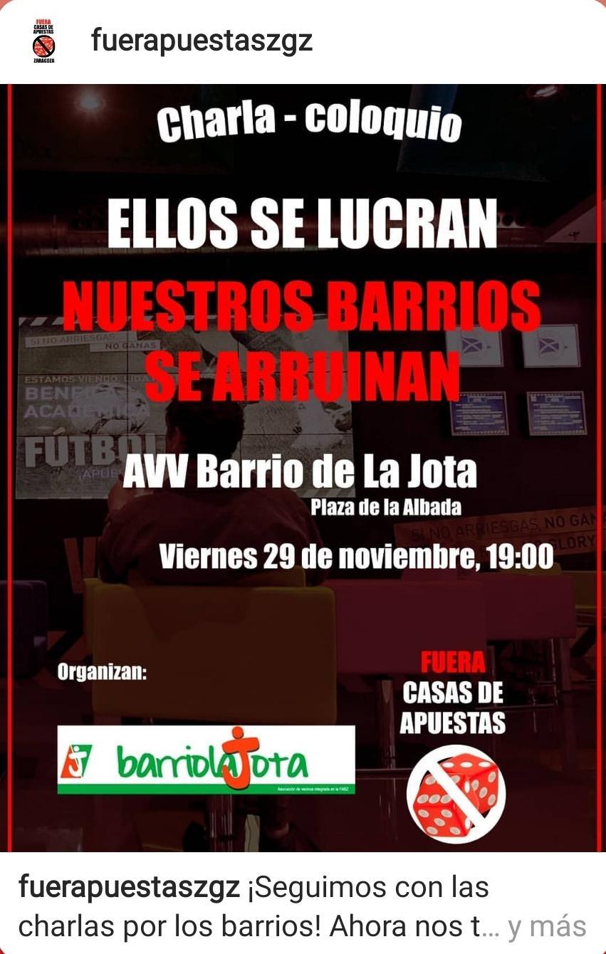 Viernes 29N, charla contra las casas de apuestas, en el barrio de La Jota.
