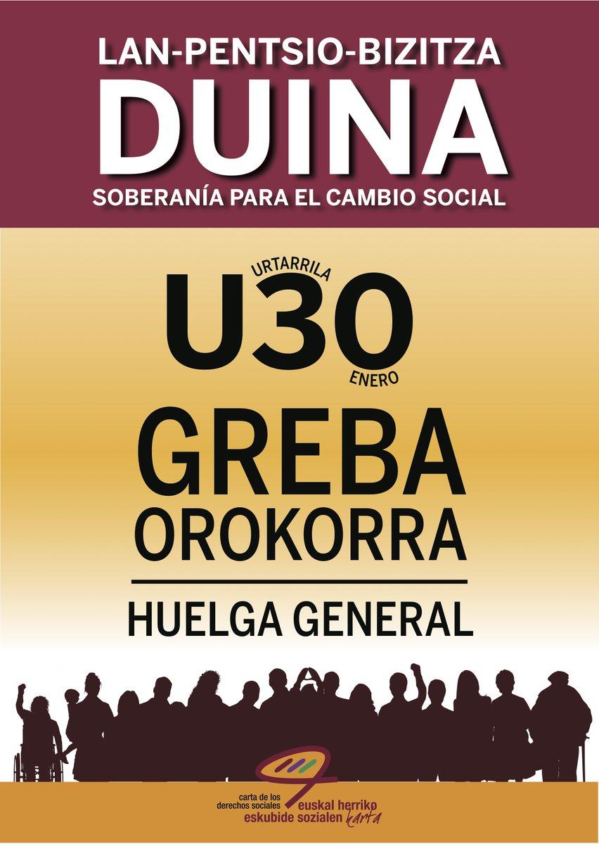 Apoyemos la Huelga General del 30 de enero en el País Vasco y Navarra en defensa del Sistema Público de Pensiones