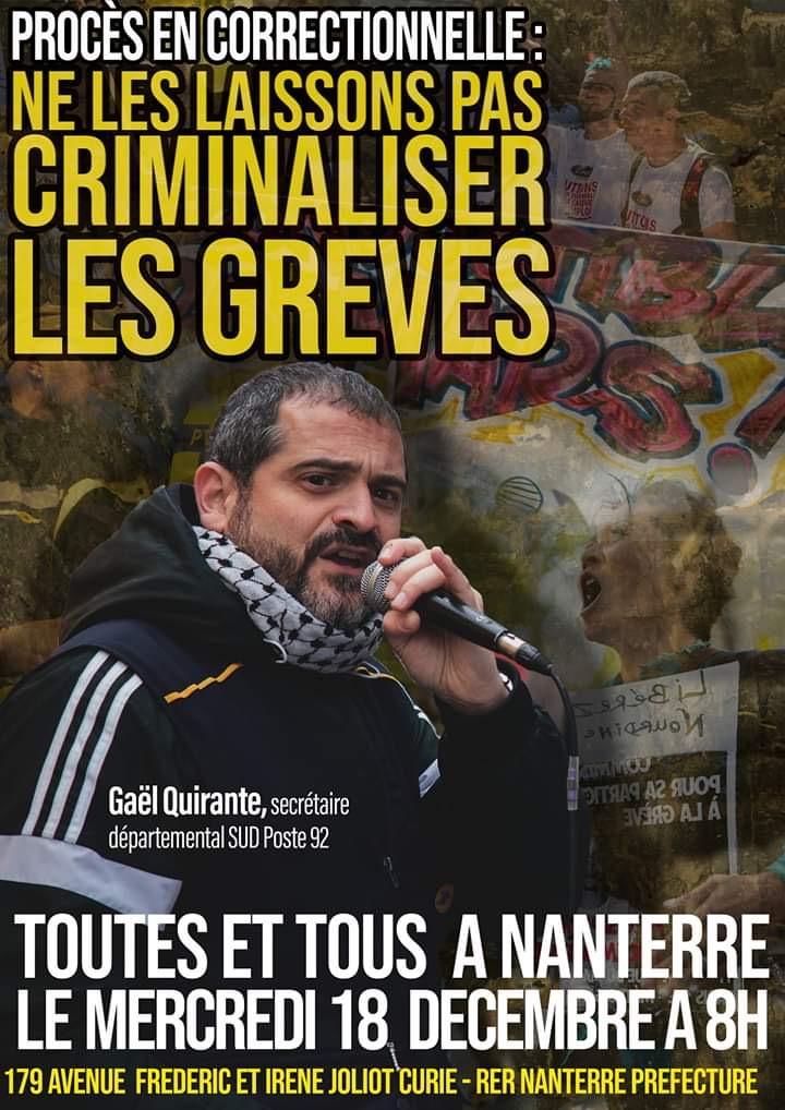 ¡Absolución para Gaël Quirante, cartero y sindicalista!