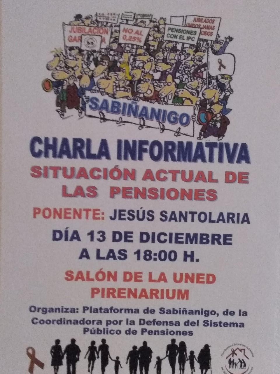 PENSIONES. CHARLA INFORMATIVA EN SABIÑANIGO. VIERNES 13