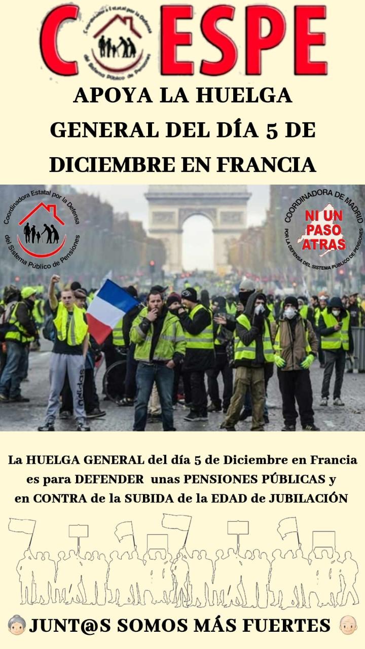 COMUNICADO DE APOYO A LA HUELGA GENERAL EN FRANCIA POR EL SISTEMA PÚBLICO DE PENSIONES DEL 5 DE DICIEMBRE DE 2019.