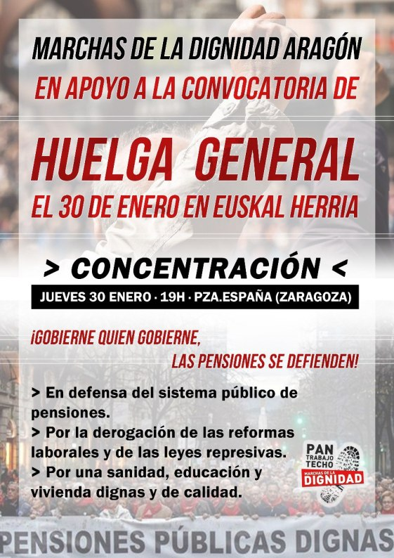 COMUNICADO DE MARCHAS DE LA DIGNIDAD ARAGON EN APOYO A LA HUELGA GENERAL EN EUSKAL-HERRIA