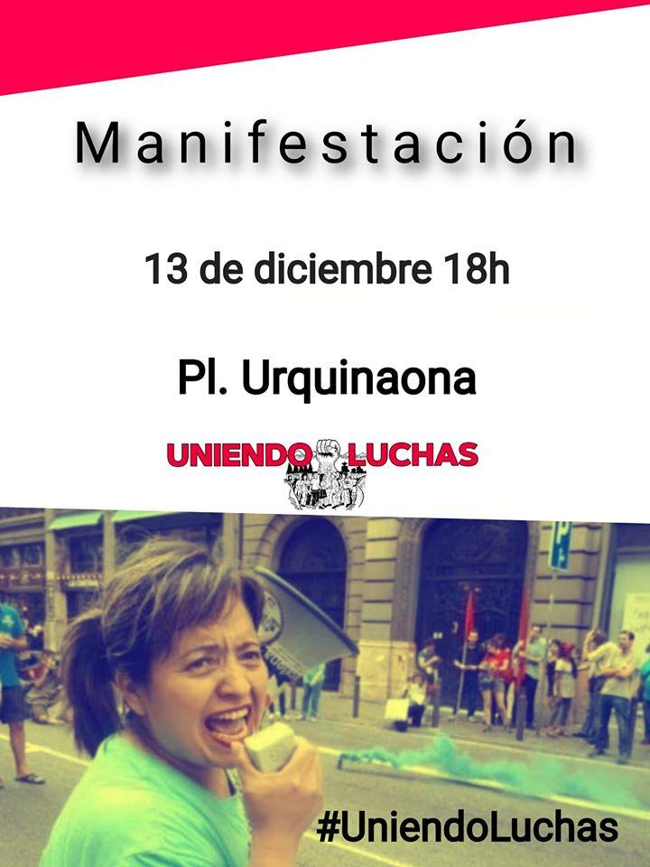 Viernes 13 Manifestación en Barcelona por los derechos de las y los trabajadores, y la derogación de las reformas laborales.