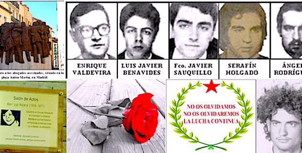 En el 43º aniversario del mes más negro de la dichosa transición- matanza de Atocha, Arturo Ruiz, Mari Luz Nájera…Ni olvido ni perdón.