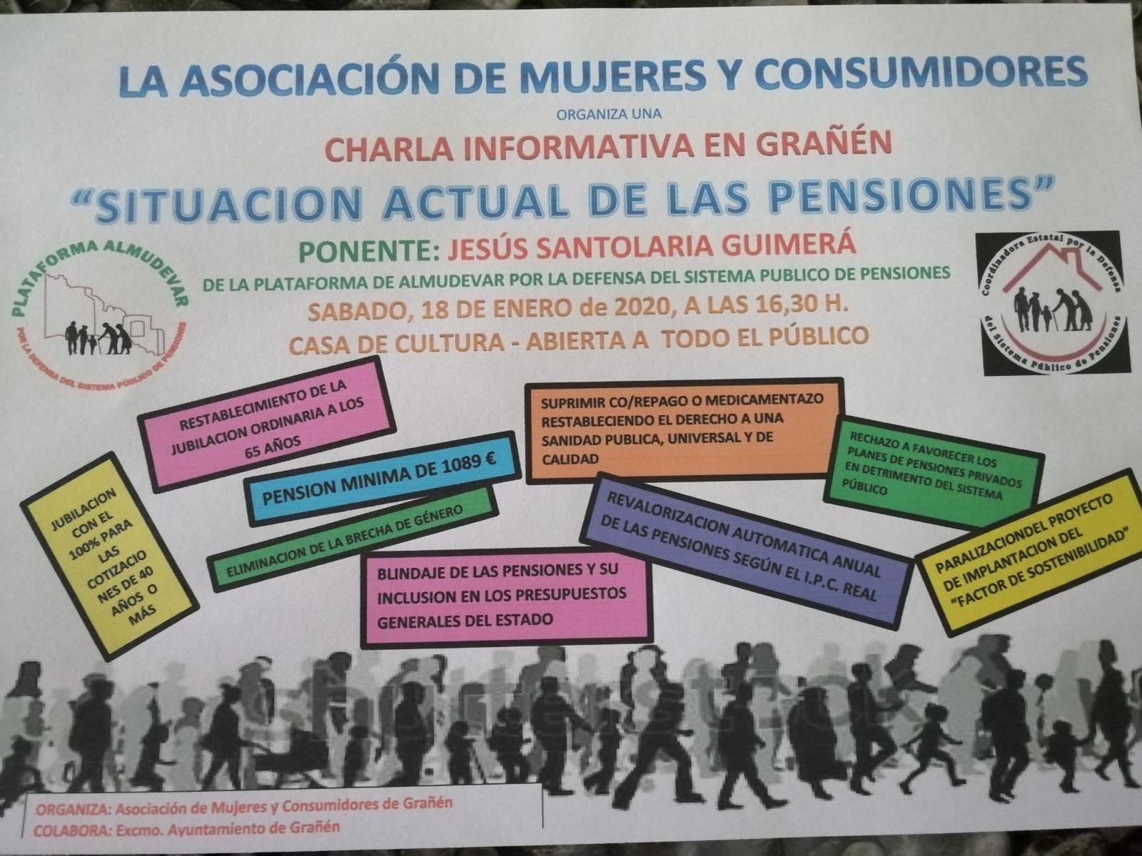 Charla informativa en Grañén, sábado 18, sobre la situación actual de las pensiones.
