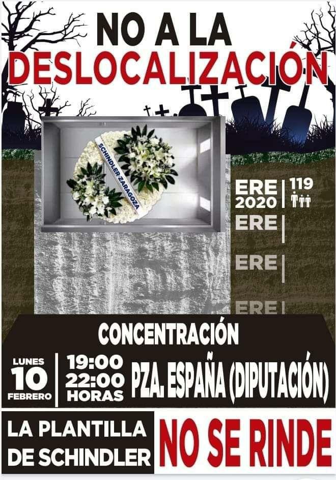 Zaragoza. Concentración contra la deslocalización de Schindler. Lunes 10 de Febrero