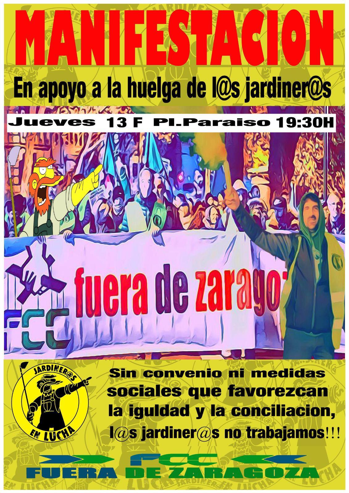 Manifestación en apoyo a los jardiner@s. Jueves 13 a las 19:30 h.