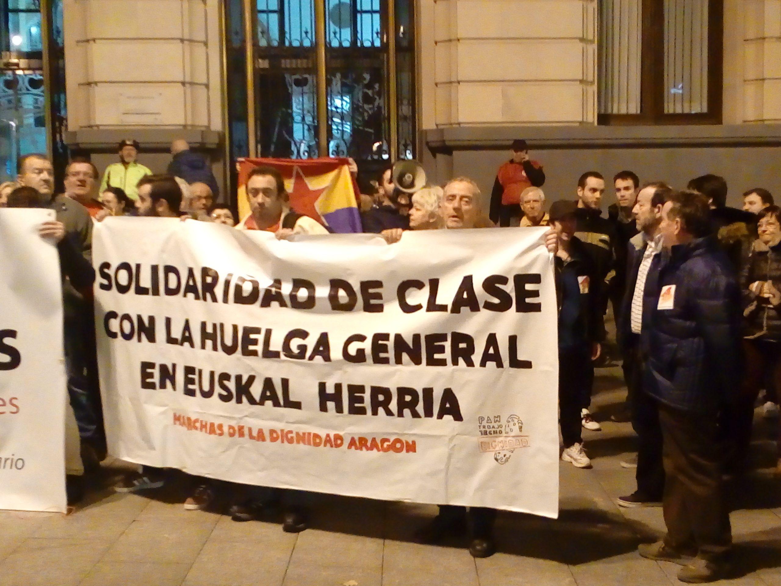 Zaragoza. 30E, videos y fotos. Solidaridad de clase con la Huelga General en Euskal Herria