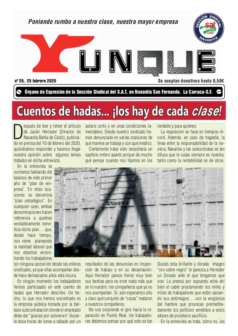 Yunque Nº29, febrero 2020. Sección Sindical SAT Navantia