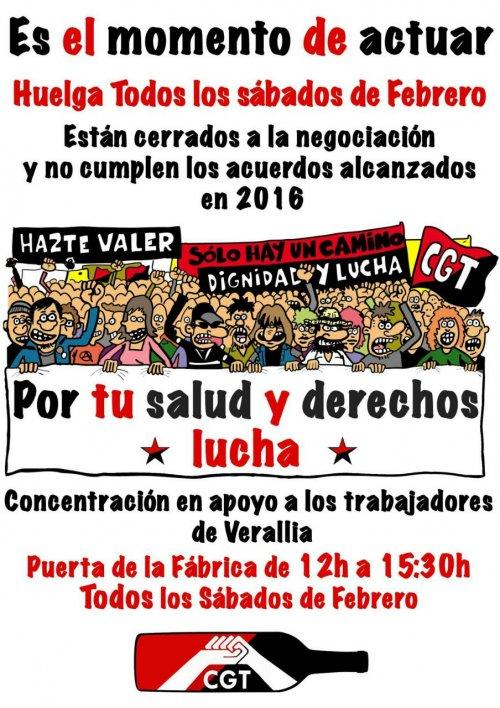 Zaragoza. Los trabajador@s de Verallia en Huelga. Huelga y concentraciones todos los sábados de Febrero