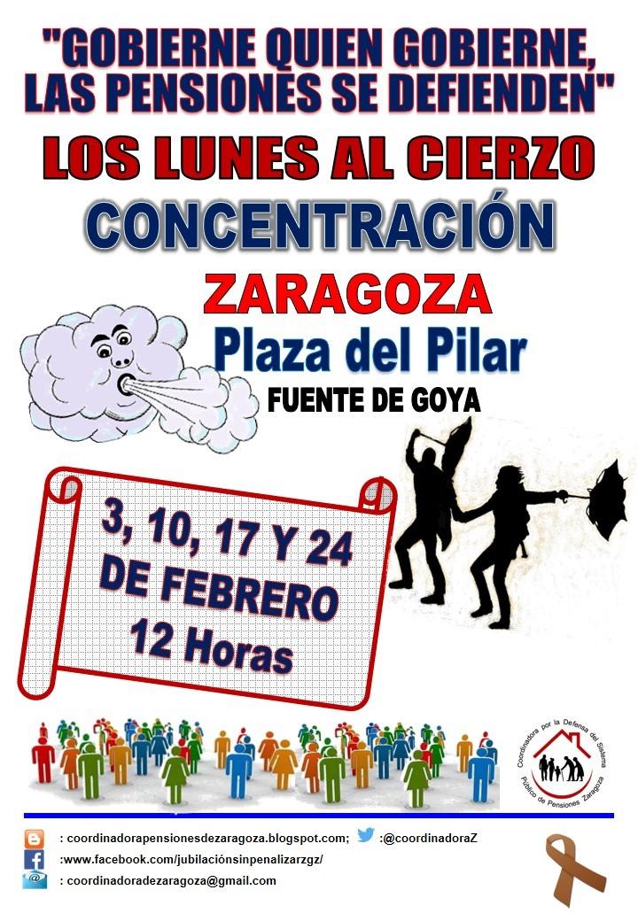 Zaragoza. 24F. Lunes al Cierzo. Gobierne quien gobierne las pensiones se defienden.