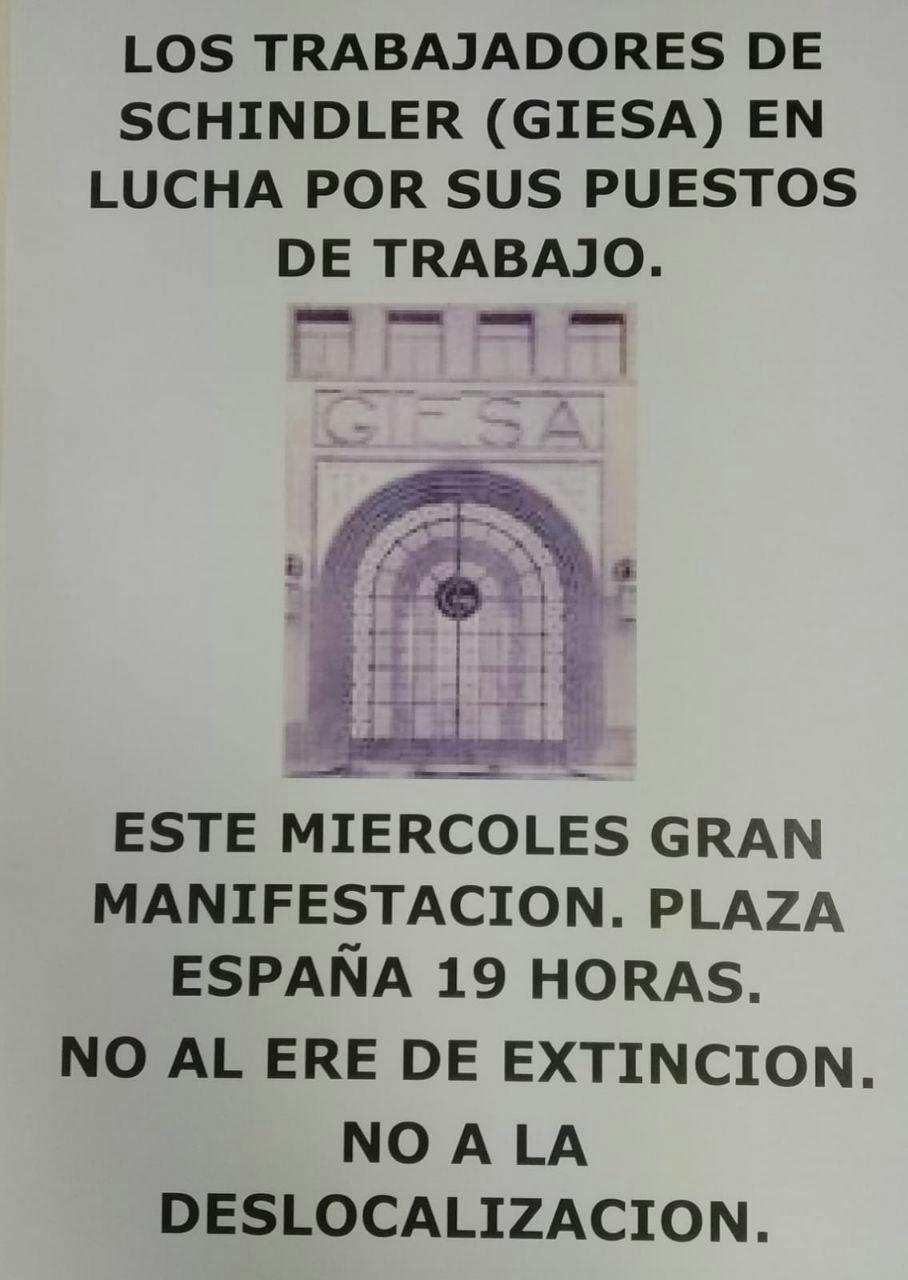 Zaragoza. Miércoles 19 de Febrero. Manifestación de los trabajador@s de Schindler contra los despidos y deslocalización.