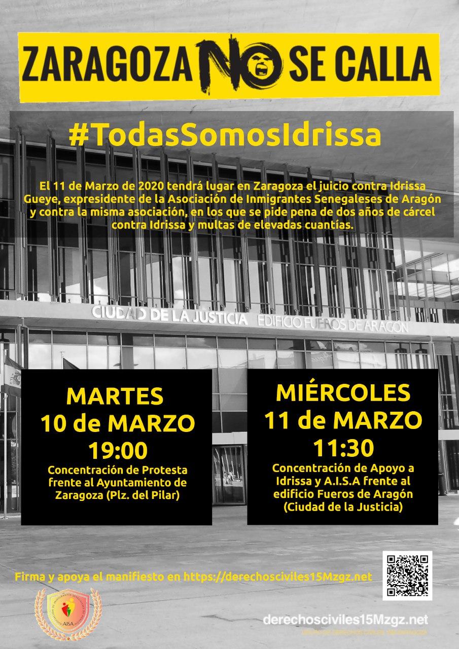 Zaragoza no se calla. #TodasSomosIdrissa. Movilizaciones martes 10 y miércoles 11 de marzo