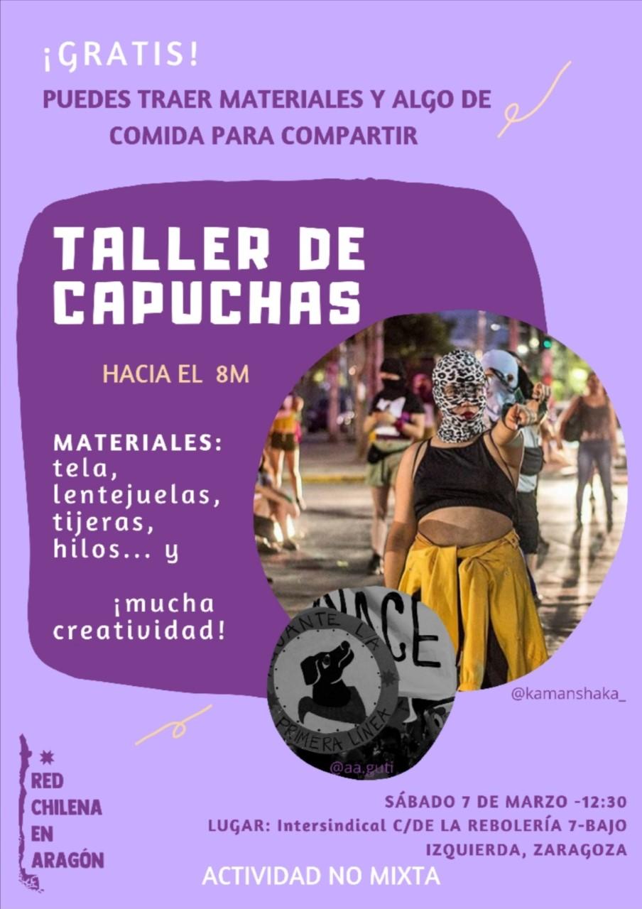 Taller de Capuchas. Hacia el 8M. Sábado 7 de marzo en Intersindical de Aragón