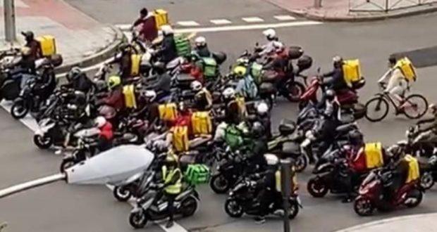 La lucha de clases no la detiene ni el Corona; Riders abren el camino y se manifiestan en Madrid contra la explotación
