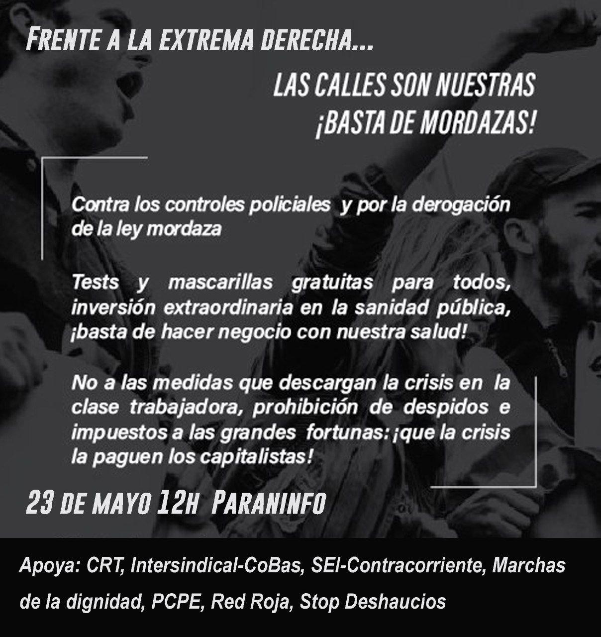 ¡Las calles son nuestras! Sábado 23 de Mayo. 12:00 h Paraninfo. Zaragoza