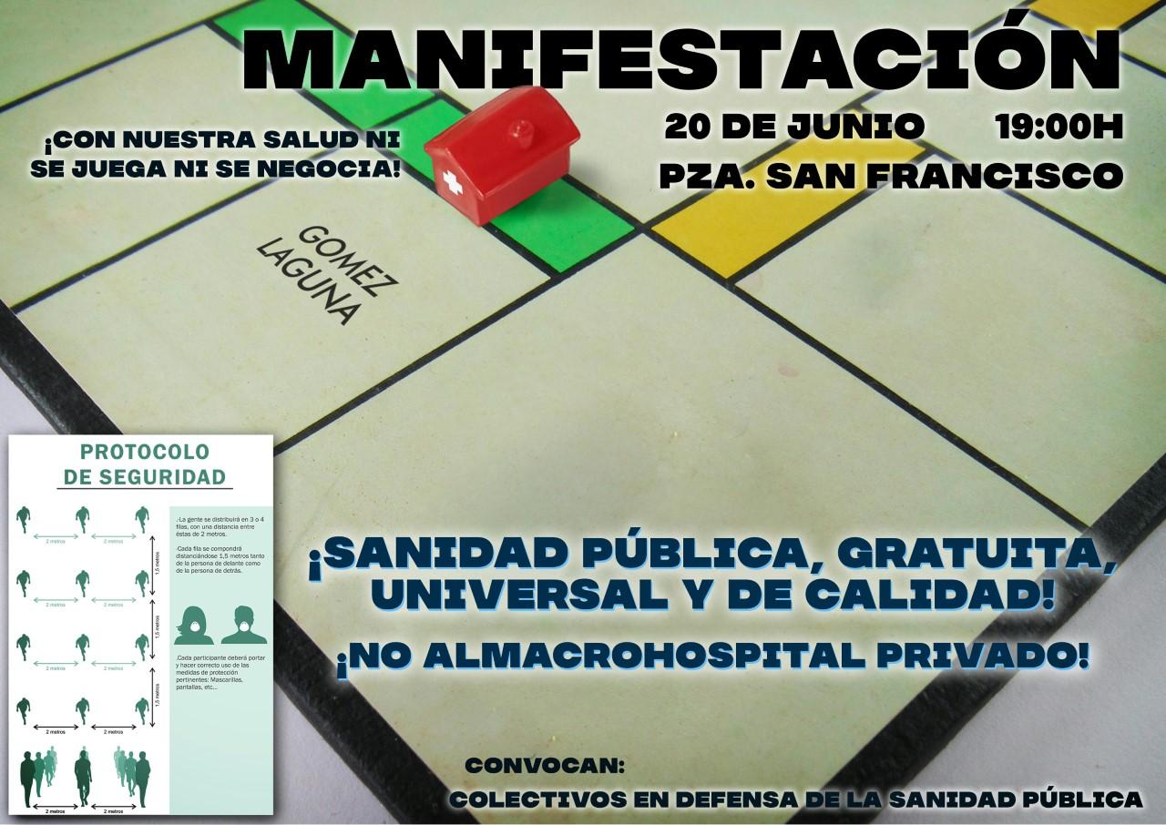 """Manifestación unitaria sábado 20J: """"No al macrohospital privado en Zaragoza. Por una sanidad 100 % PUBLICA."""