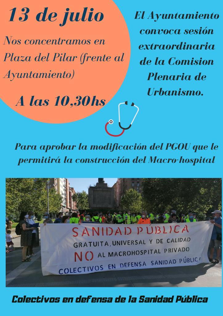 Concentracion lunes 13 de Julio. Sanidad publica. Ayuntamiento de Zaragoza