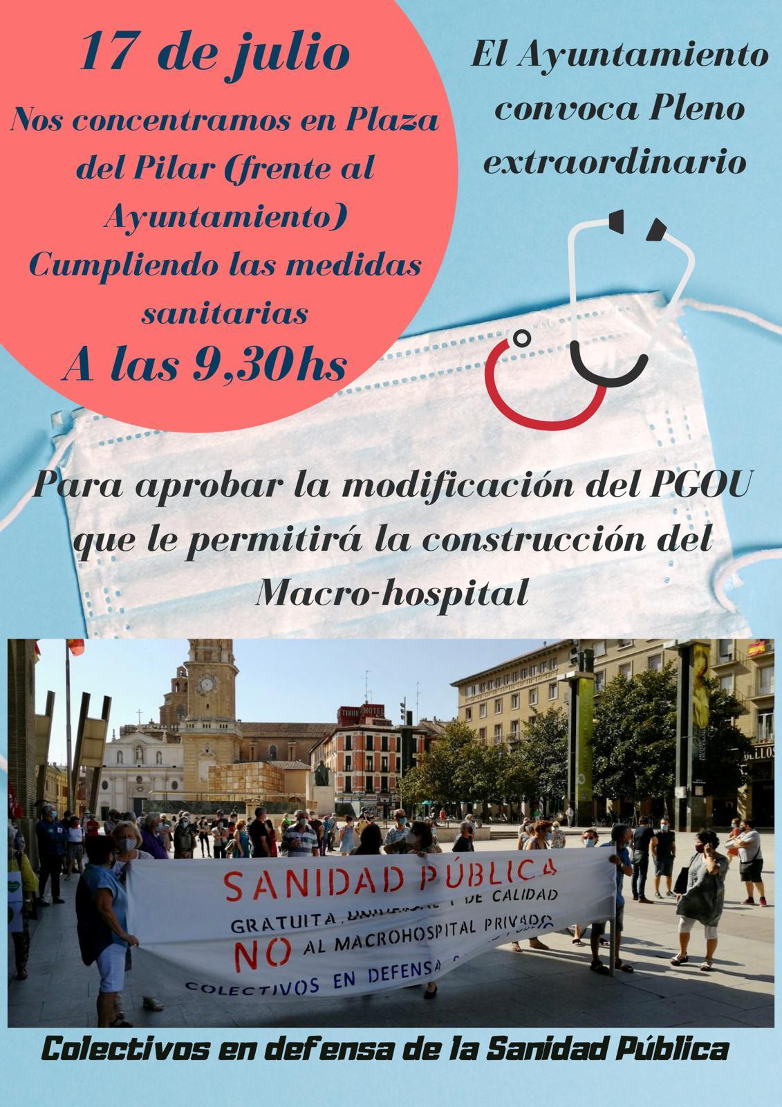 Zaragoza.Sanidad. Viernes 17 de Julio_09:30 h. Concentración frente al Ayuntamiento