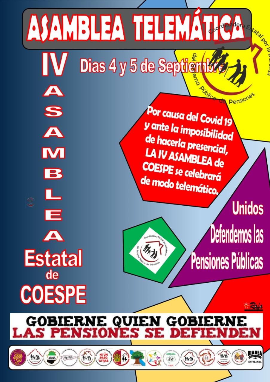 Nota de prensa de la Coordinadora de Pensionistas de Aragón. IV Asamblea estatal de Coespe y Lunes al Cierzo.
